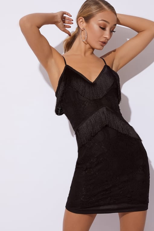 MORGYN BLACK TASSEL LACE CAMI DRESS