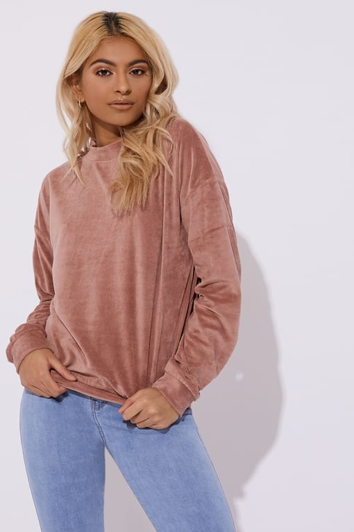 pink teddy velour lounge sweater