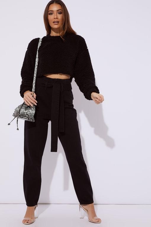 black denim tie waist jeans