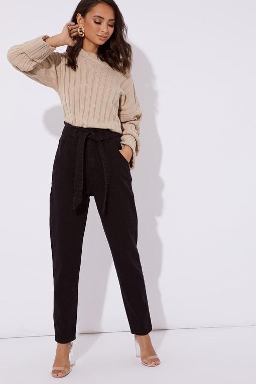 black tie waist slim fit jeans