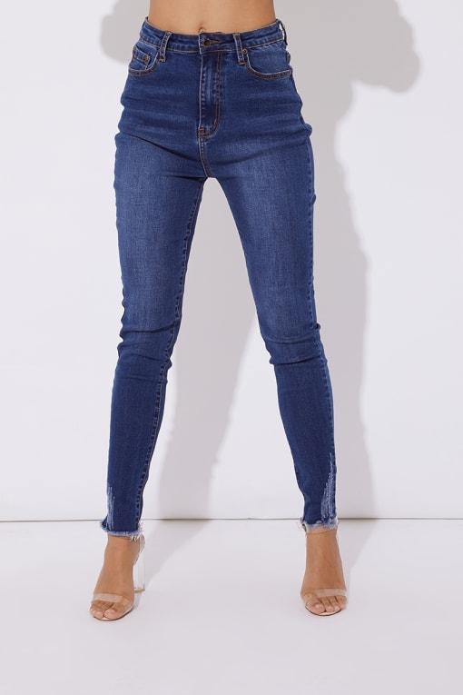 blue distressed hem skinny jeans