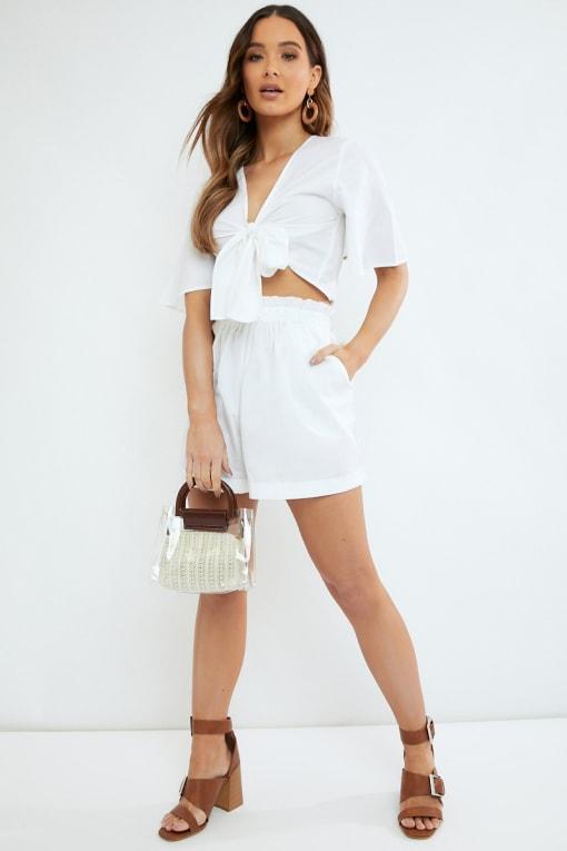 white cotton paperbag waist co ord shorts