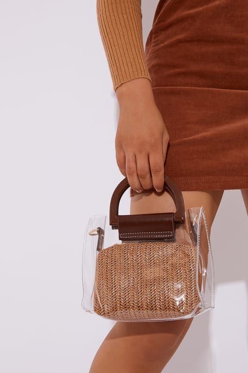 CLEAR BROWN STRAW BAG