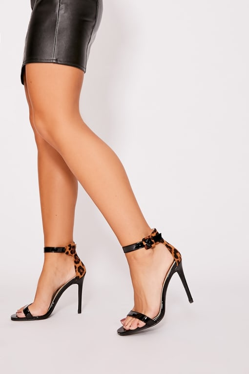black patent leopard print barely there heels
