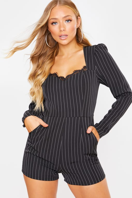 CHARLOTTE CROSBY BLACK PINSTRIPE CORSET PLAYSUIT WITH LACE TRIM DETAIL
