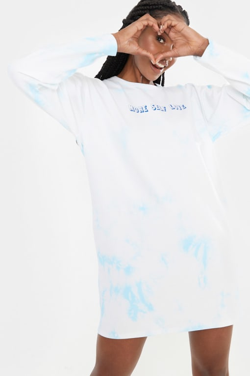 CHESSIE KING BLUE TIE DYE 'MORE SELF LOVE' LONG SLEEVE T SHIRT DRESS