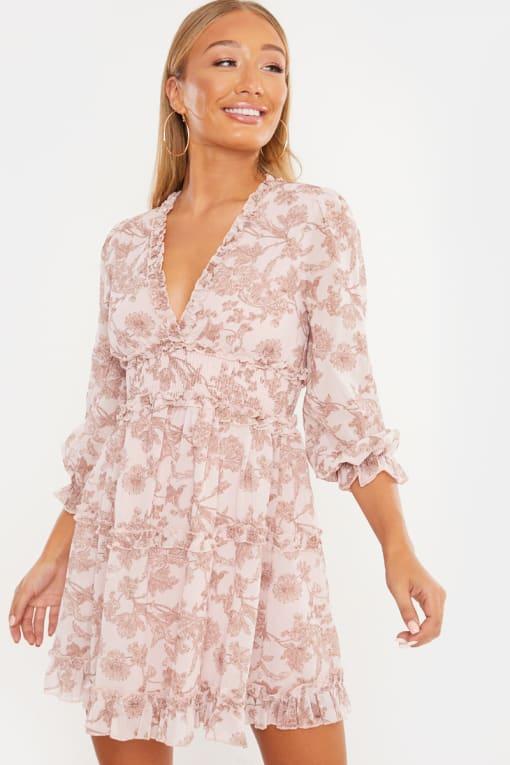 LAILA LOVES CAMEL FLORAL CHIFFON FRILL PLUNGE MINI DRESS