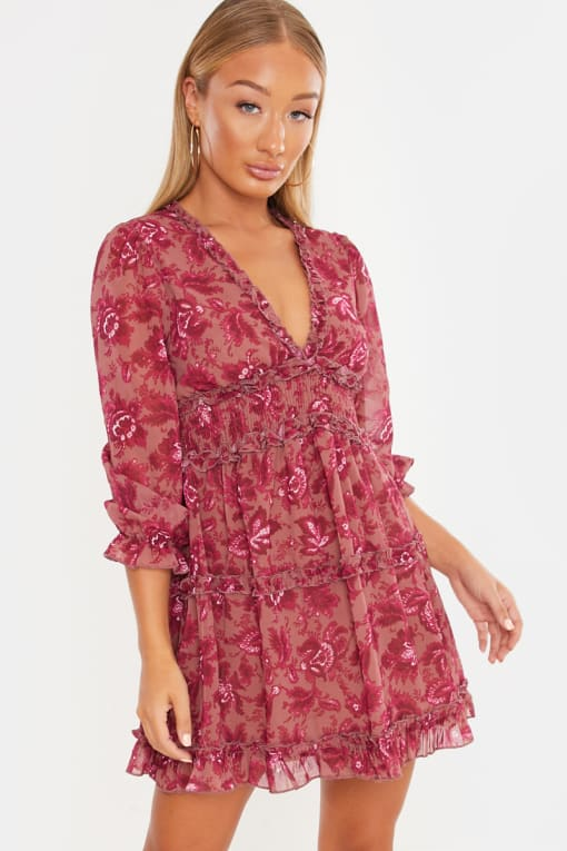 LAILA LOVES PINK FLORAL FRILL PLUNGE MINI DRESS
