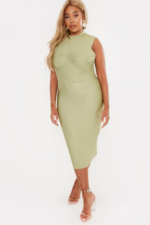CURVE LAILA LOVES OLIVE PREMIUM RIB BANDAGE UNDERWIRE DETAIL MIDI DRESS