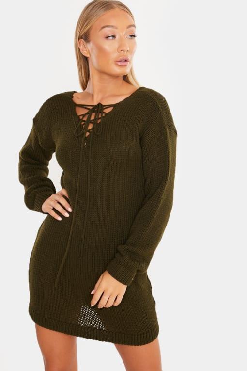 LAILA LOVES OLIVE LACE UP JUMPER DRESS