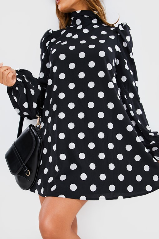 LORNA LUXE BLACK 'SHE'S THE ONE' POLKA DOT CUT OUT BACK SWING DRESS