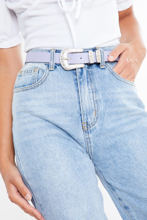 THIN LILAC BELT WITH SILVER BUCKLE