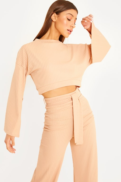 camel flared sleeve crop top loungewear set