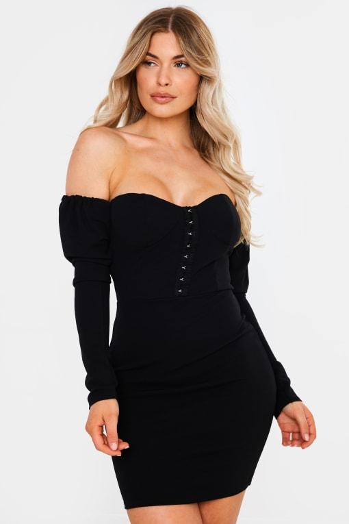 SWARA BLACK HOOK AND EYE DETAIL BARDOT MINI DRESS