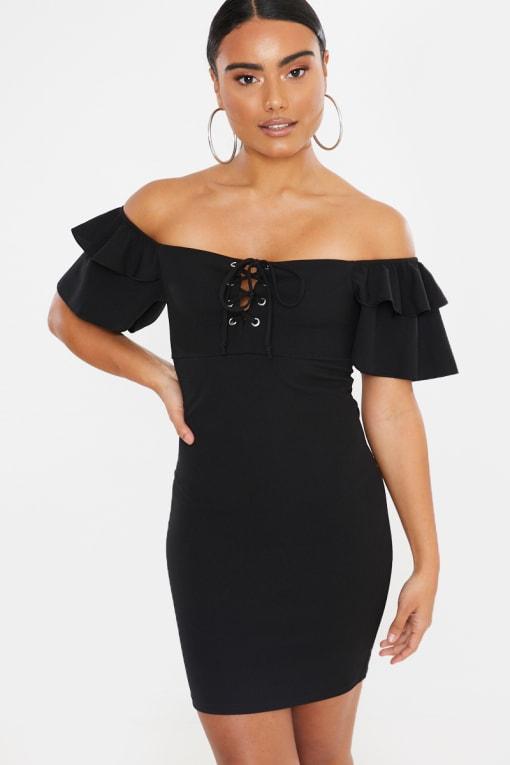 black bardot lace up mini dress