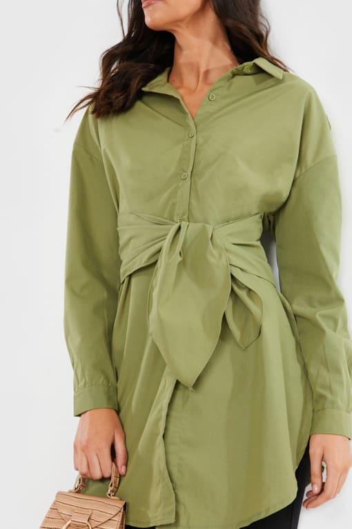 KHAKI OVERSIZED TIE FRONT SHIRT MINI DRESS