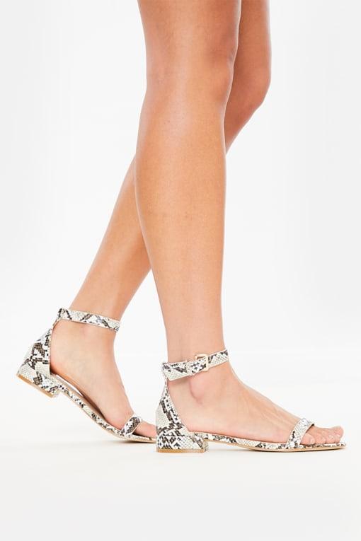 snake block sandal heels