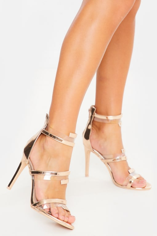 rose gold half wrap around heels
