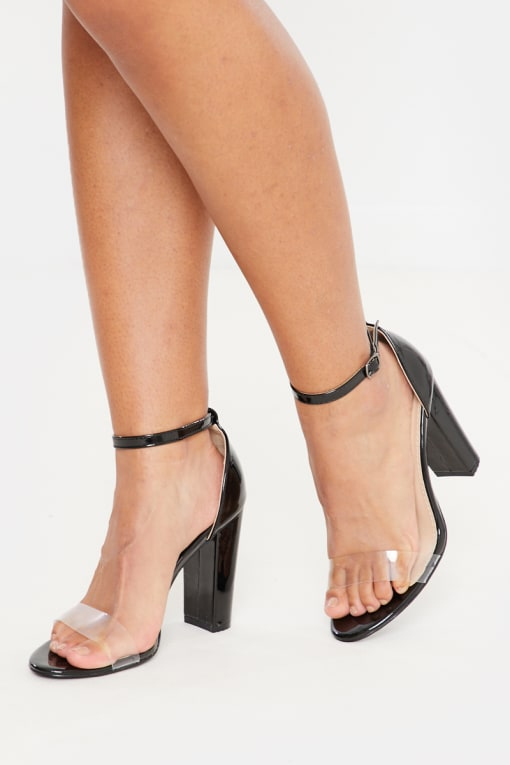 black patent clear block heel