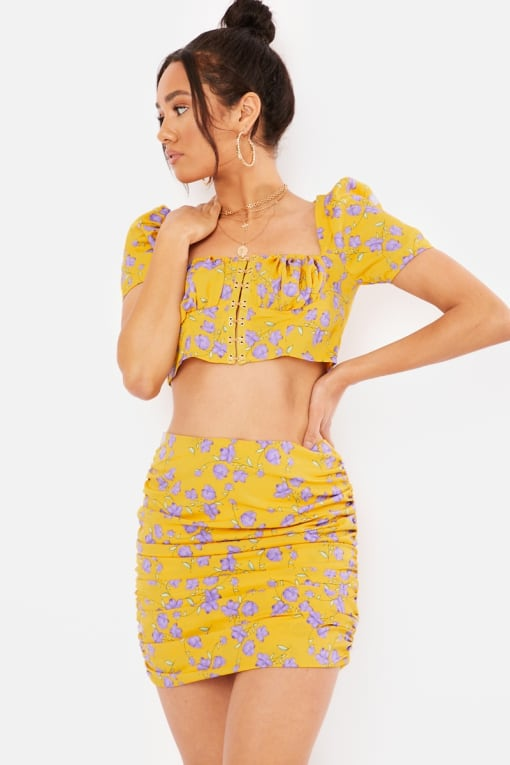 yellow floral ruched co-ord mini skirt