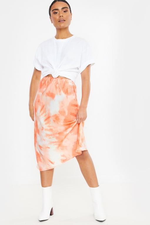 coral tie dye satin midi skirt
