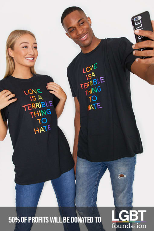 PRIDE LOVE IS A TERRIBLE THING TO HATE BLACK RAINBOW T SHIRT