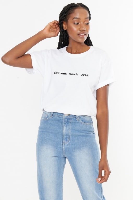 WHITE CURRENT MOOD: OVIE SLOGAN TEE