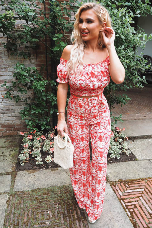 BILLIE FAIERS RED BAROQUE PRINT BELTED CO-ORD TROUSERS