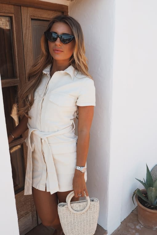 DANI DYER WHITE BELTED UTILITY DENIM DRESS