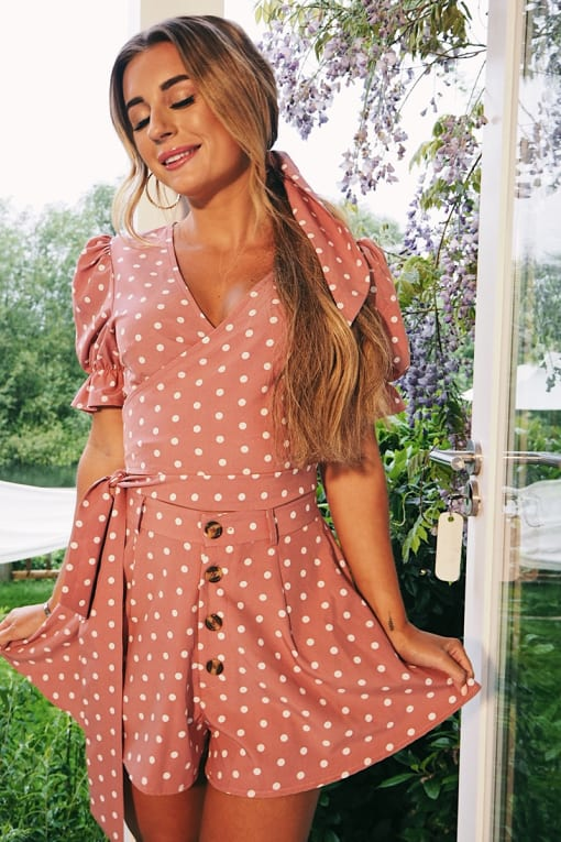 DANI DYER PINK POLKA DOT SWING CO-ORD SHORTS
