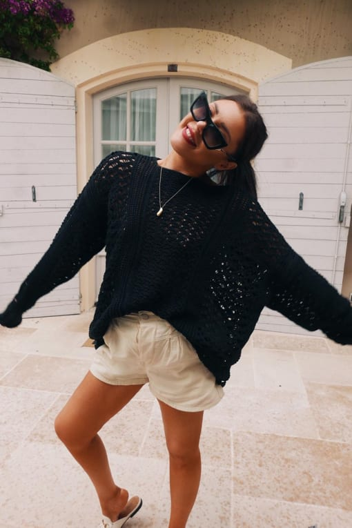 LORNA LUXE 'ME WITHOUT YOU' BLACK CROCHET OVERSIZED JUMPER