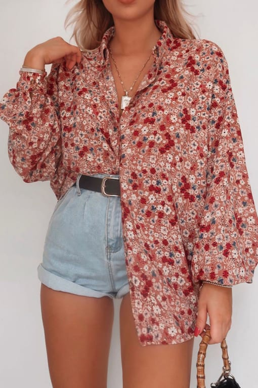 FASHION INFLUX BLUSH FLORAL OVERSIZED BALLOON SLEEVED SHIRT