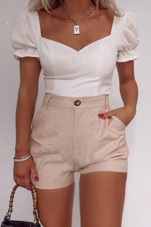 FASHION INFLUX STONE HIGH WAISTED A-LINE SHORTS