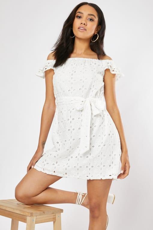 white broderie anglaise tie waist bardot frill mini dress