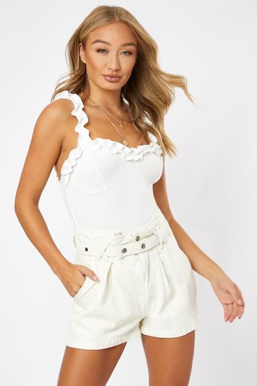 white frill neck cami bodysuit