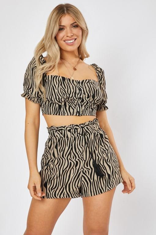 zebra printed paperbag waist co-ord shorts