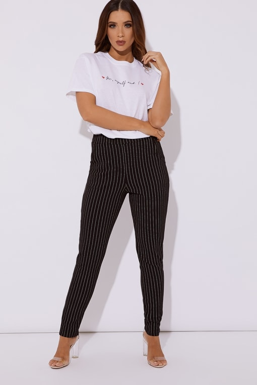 black and white pinstripe cigarette trousers