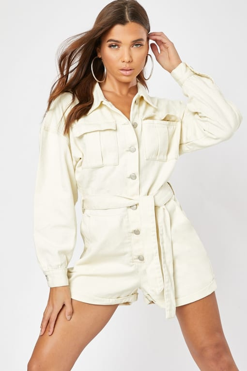 cream denim oversized playsuit