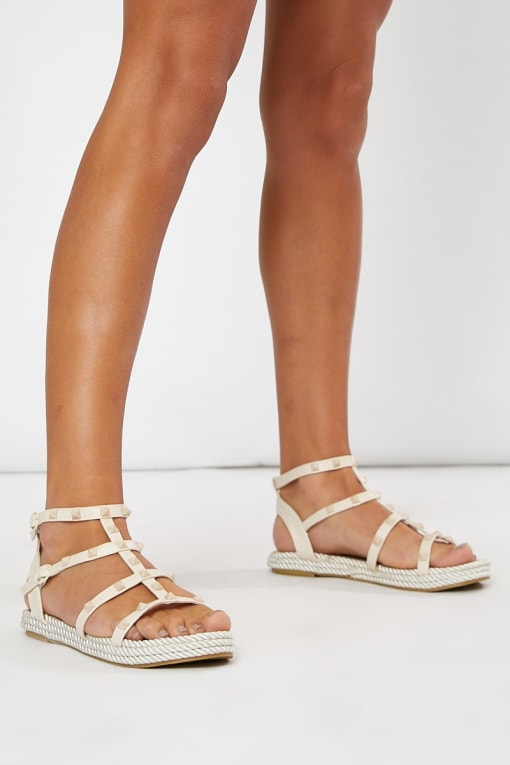 nude stud strappy sandals