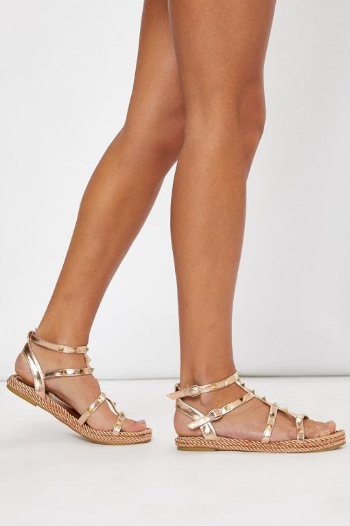 rose gold stud strappy sandals