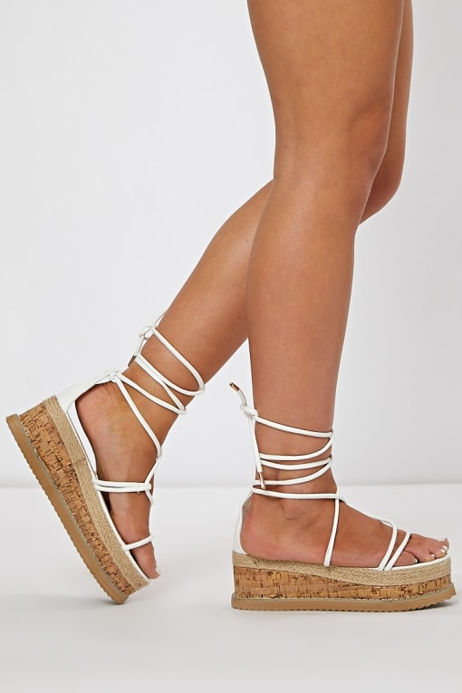 white skinny multi strap espadrilles