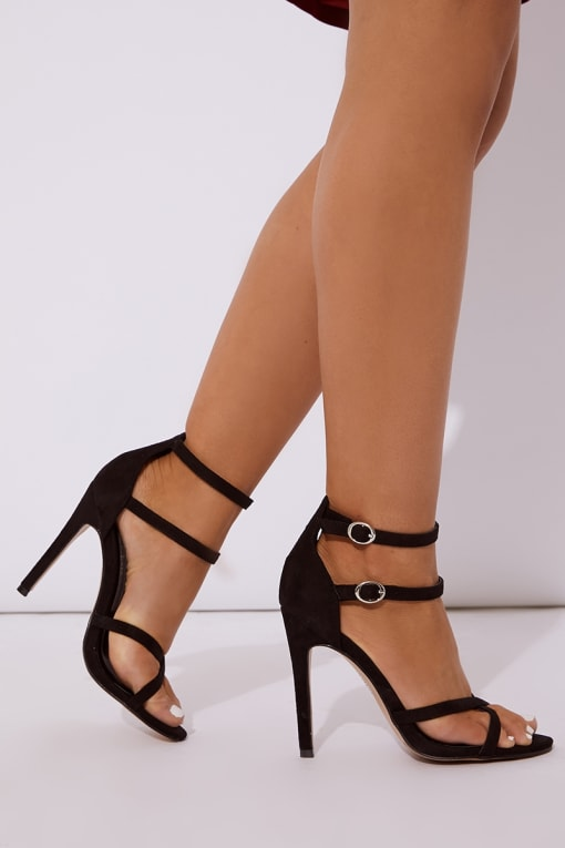 black faux suede cross front heels