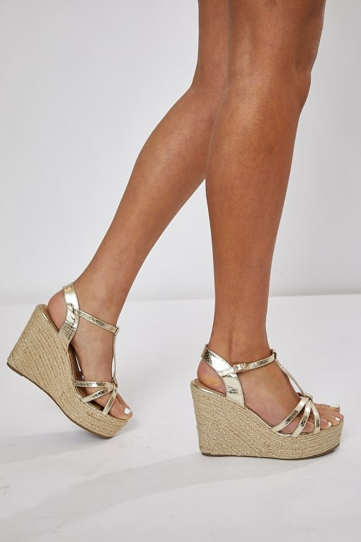 gold three strap detail wedges