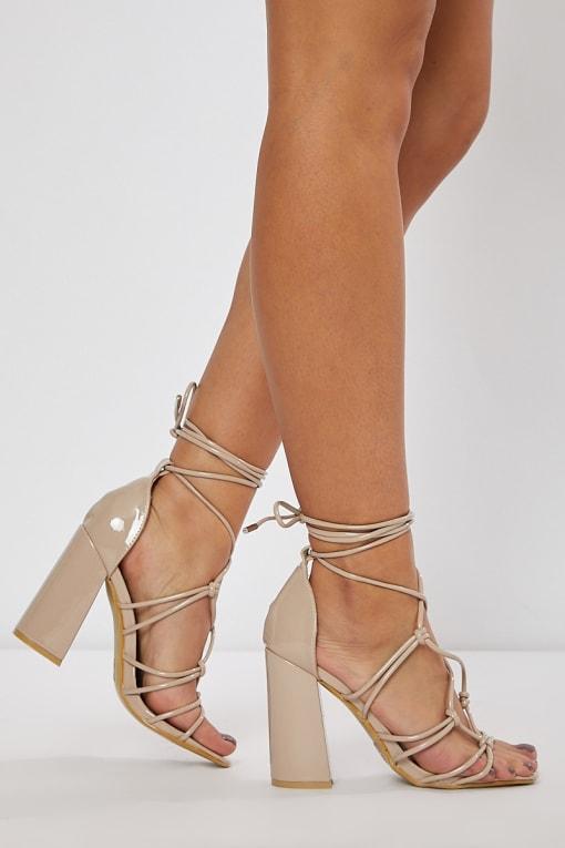nude lace up block heels