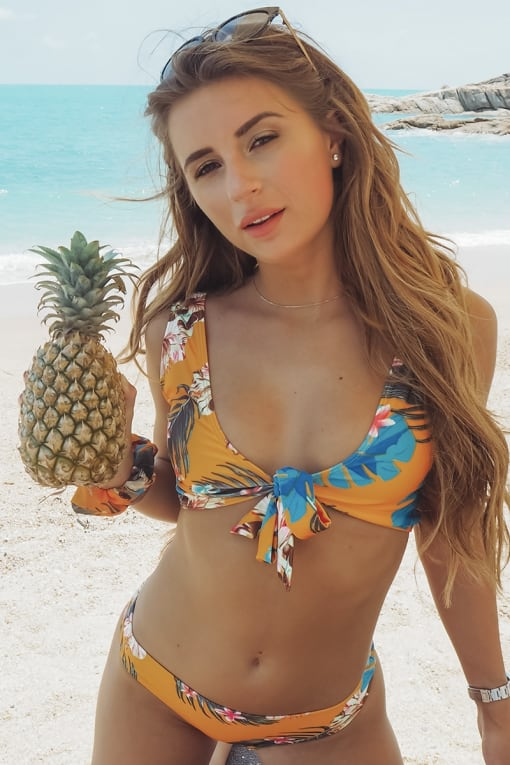 DANI DYER YELLOW TROPICAL PRINT TIE FRONT BIKINI TOP