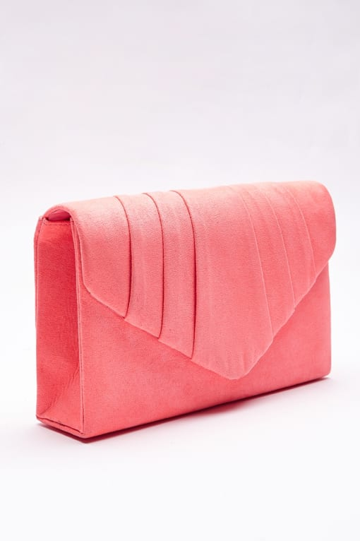 PEACH FAUX SUEDE FOLD OVER CLUTCH BAG