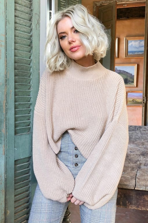 LAURA JADE STONE CROPPED BALLOON SLEEVE JUMPER