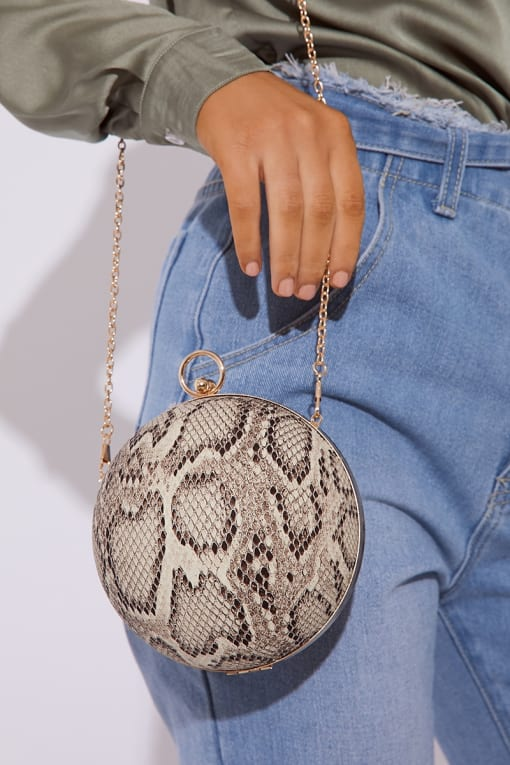 SNAKE PRINT SPHERE BAG
