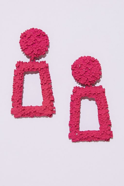 PINK SQUARE DROP EARRINGS