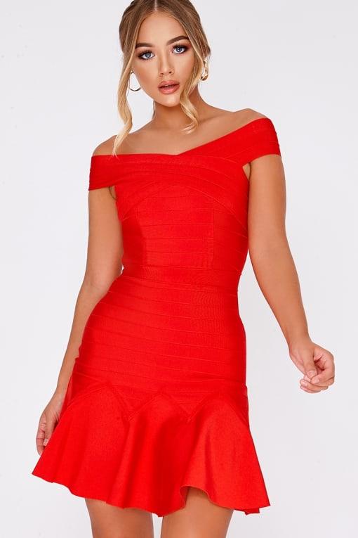 BILLIE FAIERS RED BARDOT BANDAGE PEPHEM DRESS